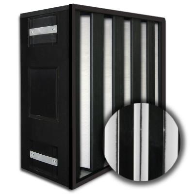 24x24x12 HighCell Turbine Black Box 5 V-Cell DOP Gas Turbine Filter Plastic Frame Box Style Gasket Up Stream