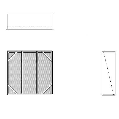 Aire-Loc Diffuser Section for V-Bank Housing 3 High 3 Wide