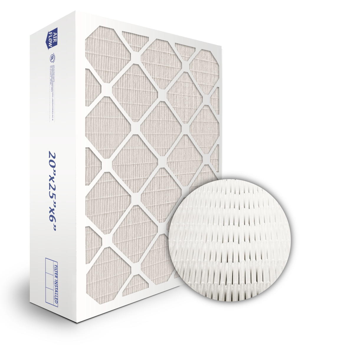 SuperFlo Max ASHRAE 95% (MERV 14/15) Dia-Cut Card Board Frame Mini Pleat Filter 20x20x6